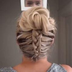 Backwards Dutch Braid into messy bun - Geflochtene frisuren - Haare und Make-up Two Braid Hairstyles, Wedding Hairstyles, Hairstyles Videos, Undercut Hairstyles, Protective Hairstyles, Hair Upstyles, Hair Videos, Hair Inspiration, Curly Hair Styles