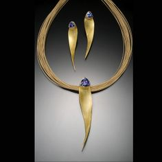 22K Gold Tanzanite Twist Pendant & Earring Set a one-of-kind set designed and fabricated by Jonathan Greenfield