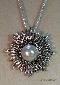 Handcrafted Pearl  Sunburst Pendant Necklace Mabe Pearl in sterling silver $160.00