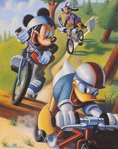 Mickey Mouse and Friends Biking Poster