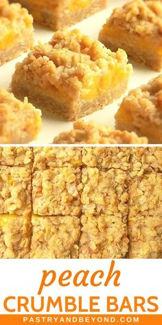 Peach Crumble Bars-These peach bars are crunchy, soft and slightly chewy. You'll need the same dough for the crust and the topping to make these delicious peach oatmeal bars. Peach Crumble Bars, Crumble Topping, Cookie Recipes, Dessert Recipes, Cookbook Recipes, Baking Recipes, Peach Oatmeal, Easy Sweets, Fruit Cobbler