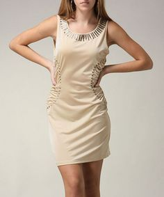 Take a look at this Beige Studded Dress by Jazzy Martini on #zulily today!