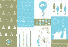 Two-color, two-page spread illustration for Ferocious Quarterly by Lydia Nichols.