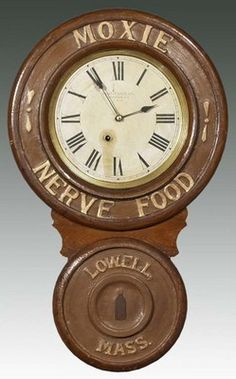 Baird Clock Co, Moxie, Nerve Food, 26 inch. A Baird advertising clock for Moxie sode