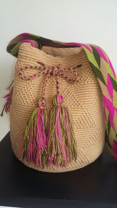 Best 12 Mexican Crochet Bag / Cross body bag / Brown Bag / Gift for her / Brown with Blue Tassels / Mexican – SkillOfKing. Tapestry Bag, Tapestry Crochet, Tribal Bags, Inkle Weaving, Crochet Decoration, Brown Bags, Bead Crochet, Knitted Bags, Knit Patterns