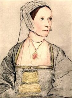 The ties on the front of this dress are an interesting option for some of the interlayers seen in Dutch dresses of the period.  By Hans Holbein Jr.