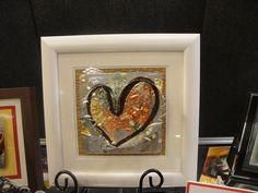 "$110.00    10"" x 10"" Framed     handcrafted from recycled sheet metal & mixed media"