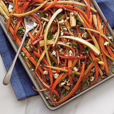 Balsamic-Roasted Carrots and Parsnips   For a lighter option to traditional #Thanksgiving sides, try these Balsamic-Roasted Carrots and Parsnips. Light brown sugar and cherries add a bit of sweetness balanced by crushed red pepper and lemon zest.