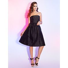 A-line Strapless Knee-length Taffeta Cocktail Dress With Bow - GBP £ 66.02