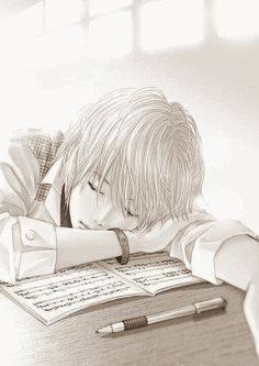 anime boy, anime guy, black and white, cute anime, manga, music notes, tired, anime, sleeping anime Hot Anime Boy, Anime Guys, Manga, Favim, Cool Wallpaper, Tired, Sleep, Black And White, Drawings
