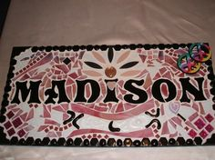 """CUSTOM Made Stained Glass Mosaic Name Signs - You Get to """"Design the Sign"""" - This One Is 12""""x24"""""""