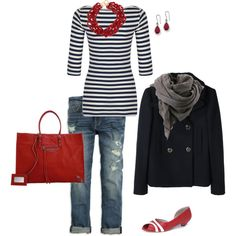 I would forget the jacket/scarf and stick with the shirt and jeans and a cheaper bag! What caught my eye is the red necklace on this black/stripe shirt. Love the idea!