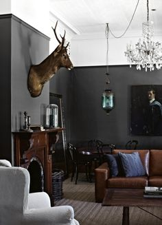 Deliciously dark sitting room from Australian Country Style magazine (June 2013 issue), with photography by Sharyn Cairns.