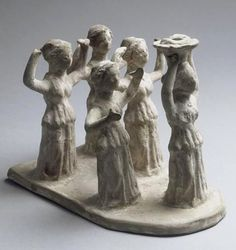 """As the Basket comes, greet it, ye women, saying ""Demeter, greatly hail! Lady of much bounty, of many measures of corn."" Hymn to Demeter 1 ss. Group of dancers accompanying a kanephoros - in front of the procession, a woman carrying on her head a basket of offerings. 3rd century BCE, from Canosa di Puglia; now in Paris, Louvre museum"