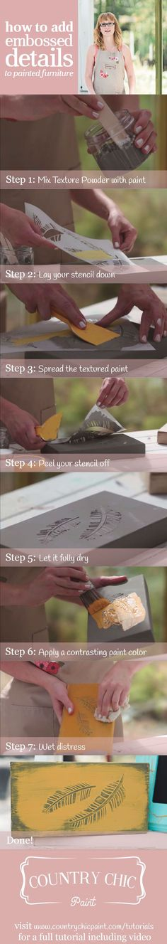 How to create raised stencil effects on your furniture with Texture Powder | furniture embossing tutorial #countrychicpaint - www.countrychicpaint.com/tutorials