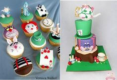 Alice in Wonderland cupcakes by Verusca Walker, Mad Hatter tea party cake by Cuppy and Cake