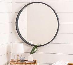 Audrey Beaded Mirror   Pottery Barn Wood Trellis, Trellis Design, Round Hanging Mirror, Round Mirrors, Wood Mirror, Mirror Mirror, Beaded Mirror, How To Clean Mirrors, Small Entryways