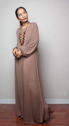 Maxi Dress / Light Brown Long Sleeved Dress  : Autumn Thrills Collection No.15 on Etsy, $59.00