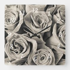 Vintage Velvet Beauty Square Wall Clock Photography Gifts, Floral Photography, Black Baccara Roses, Vintage Velvet, Hand Coloring, Vintage Shops, Black And Grey, Floral Design, Burgundy