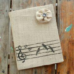Songbirds - Burlap Feed Sack Journal Cover w. Notebook. $15.00, via Etsy.