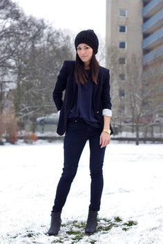 blazer + beanie + gold watch