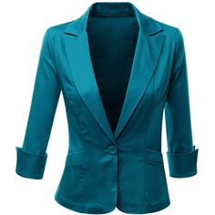 Doublju Womens 3/4 Sleeve Peaked Collar Cropped Blazer found on Polyvore featuring polyvore, women's fashion, clothing, outerwear, jackets, blazers, blazer, coats, teal and peak jacket