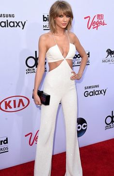 Taylor Swift in white jumpsuit | Billboard Awards 2015 Getty Images