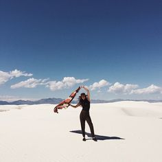 Dreamy snap of #blockshoptextiles babe @evadeitch flying her Saddle Blanket over White Sands, shot by @linacaro