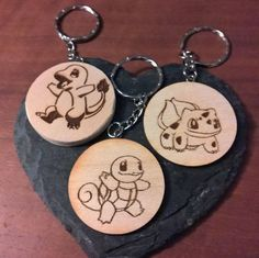 Items similar to First gen starter Pokémon Keyring - Bulbasaur, Charmander, Pikachu, Squirtle - laser engraved wooden keyring with chain Pokemon keychain on Etsy Charmander, Pikachu, Pokemon, Personalised Keyrings, Personalized Items, Wooden Key Holder, Split Ring, Pyrography, Laser Engraving