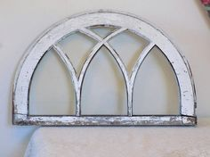 SMALL! Antique Lead Glass ARCH Window ~ Vintage Shabby Chic Chippy White Side ~ Old French Architectural Salavage ~ Victorian Wall Decor