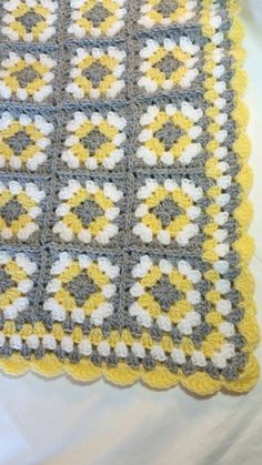 Gray and Yellow Baby Blanket Crochet Handmade by littledarlynns