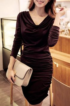 Elegant Long Sleeve Cowl Neck Draped Solid Color Bodycon Dress For Women
