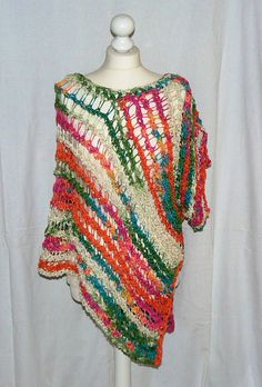 Crochet Beachwear Fashion  PONCHO Size S-L multi by CrochetRagRug