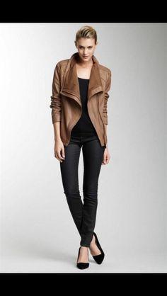 Elie Tahari Sand Virginia Napoleon Drape Scuba Leather Jacket New Size M | eBay