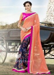 Party Wear Georgette Peach Lace Border Work Saree