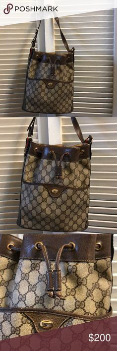 Vintage Gucci Bucket Bag Vintage Gucci Bucket Bag in the classic GG Supreme Canvas and brown leather trim. This bag has seen a resurgence in fashion recently. Great vintage condition has pen mark inside pocket, tiny spot where stitching is frayed, drawstring has been repaired (see photo), and interior wear. Overall has lots of life left still! Gucci Bags Shoulder Bags