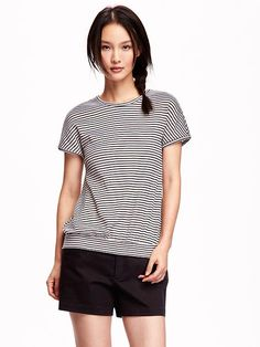 Honeycomb-Knit Banded-Hem Tee for Women