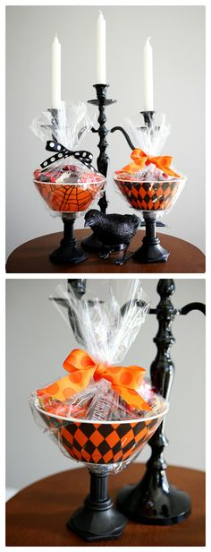 so simple and easy to make - halloween candy dishes