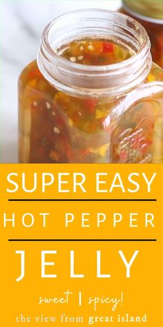 My super easy hot pepper jelly is the best appetizer ever! Jalapeno Jelly Recipes, Recipes With Banana Peppers, Canned Salsa Recipes, Pepper Jelly Recipes, Home Canning Recipes, Hot Sauce Recipes, Cucumber Recipes, Jam Recipes, Cooking Recipes