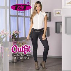 Tu look habla mucho de ti. Jeans levanta cola con efecto cuero o encerado, que te ayudan a lograr un estilo diferente #ModaCitadina #jeanslevantacola #jeansencerado