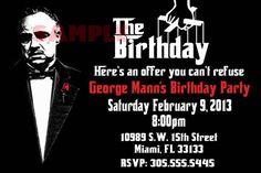 Godfather Birthday Invitation by rowzsmith on Etsy Graduation Party Themes, 50th Party, 30th Birthday Parties, Birthday Party Invitations, Birthday Party Themes, 50th Birthday, Mafia Party, Gangster Party, Birthday For Him