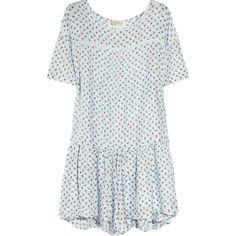 TEXTILE Elizabeth and James Kensington rose-print silk mini dress ($185) ❤ liked on Polyvore featuring dresses, vestidos, ruched mini dress, mint green dress, asymmetrical hem dress, ruched dress and short dresses