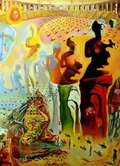"Oil on canvas, ""Dali Oil Painting Reproduction-The Hallucinogenic Toreador,"" by Emona Art, Fine Art America."