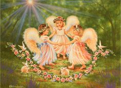 Together In My Father's Garden Mural - Dona Gelsinger Dmc Cross Stitch, Cross Stitch Books, Cross Stitching, Stitch 2, Angel Images, Angel Pictures, Angel Kids, Garden Mural, Angels In Heaven