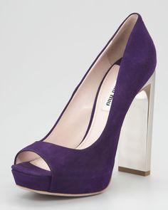 Suede Open-Toe Bejeweled Pump - Miu Miu (Block Heels Silver Purple Suede Pumps High Block Open-toed)