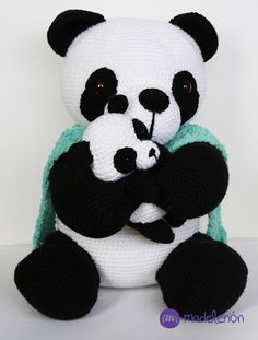 Ralph Panda y Bebe Crochet Animal Patterns, Stuffed Animal Patterns, Crochet Blanket Patterns, Amigurumi Patterns, Crochet Animals, Baby Blanket Crochet, Crochet Panda, Crochet Pokemon, Knit Or Crochet