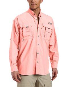 Columbia Mens PFG Bahama II Long Sleeve Shirt Fishing UPF 30 Peach ...
