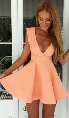 Shop Pink Deep V Neck Sleeveless Flare Dress online. SheIn offers Pink Deep V Neck Sleeveless Flare Dress & more to fit your fashionable needs. Short Beach Dresses, Sexy Dresses, Cute Dresses, Casual Dresses, Fashion Dresses, Party Dresses, Mini Dresses, Fashion Clothes, Backless Dresses