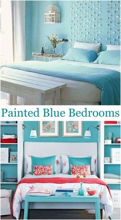 Turn your bedroom into a coastal retreat with blue wall color! From pale serene blue to cheerful hues of blue you will find some great blue wall color ideas for your home, featured on Completely Coastal. Bedroom Color Schemes, Bedroom Themes, Bedroom Ideas, Blue Painted Walls, Blue Walls, Blue Wall Colors, Beach Room, Coastal Bedrooms, Blue Bedroom
