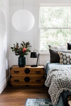 Japanese chest nightstand and layered bed earthy modern house tour coco kel Cozy Bedroom, Home Decor Bedroom, Bedroom Ideas, Master Bedroom, Bedroom Lamps, Bedroom Lighting, Bedroom Furniture, Bedroom Designs, Bedroom Styles